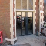 The new entrance from the car park