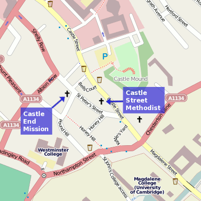 Map of Castle Street Methodist Church, Cambridge