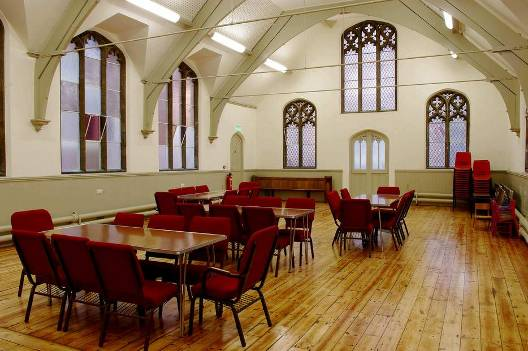 Church hall with tables and chairs
