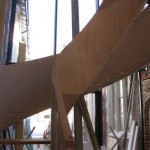 The spiral staircase near the new entrance