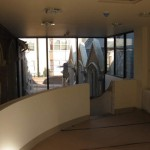 View from the upstairs landing on to the glass screen