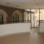 The landing upstairs with linoleum floor
