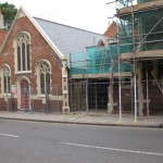 View of the church hall from Castle Street with missing railings