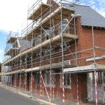 Scaffolding on the outside of the building on St Peter's Street for cleaning the stonework